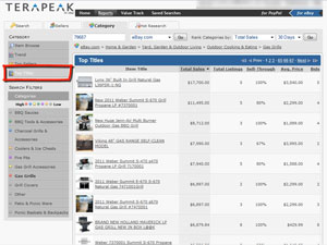 Find hot products to sell on eBay using Terapeak Hot Categories & Top Titles report